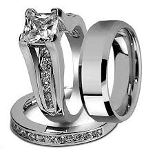 his and wedding ring set his and hers stainless steel princess wedding ring set beveled