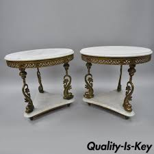 Vintage Table Ls Vtg Pair Marble Top Italian Side Tables Serpent Fish Legs