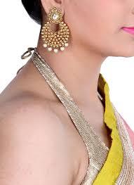 shillpa purii gold carving tilak dangler shop earrings at