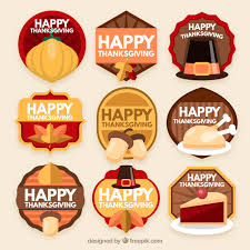happy thanksgiving day labels vector free