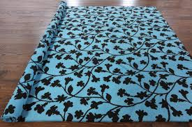 Turquoise Brown Rug New Hand Knotted Overdye Floral Rug 8 U0027 X 10 U0027 Sky Blue Brown Wool H3331