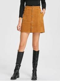 patch pockets a line corduroy skirt camel skirts m zaful