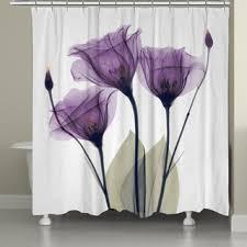 Purple Bathroom Curtains Laural Home X Gentian Flower Shower Curtain Free