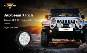 round led lights for jeep amazon com auxbeam 7 round driving light 80w cree led 8000lm combo