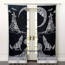 Wolf Curtains Indian Mandala Crying Wolf Moon Window Door Balcony Curtains With