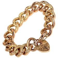 gold chain heart bracelet images Antique victorian gold curb link heart lock bracelet for sale at jpg