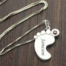 Kids Name Necklaces Aliexpress Com Buy Birthstone Mom Necklace Baby Feet Necklace