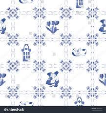 seamless pattern ornaments delft blue stock vector 246041044