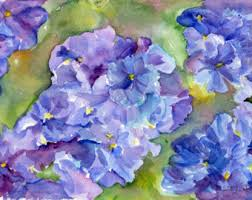 Purple And Blue Flowers Hydrangea Watercolor Painting Original 5 X 7 Lime Green