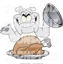picture of a cartoon turkey for thanksgiving vector illustration of a cartoon bulldog mascot serving a