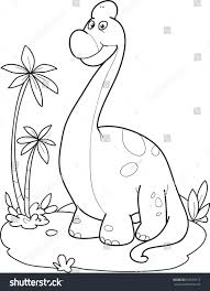 coloring page outline cartoon dinosaur diplodocus stock vector