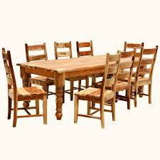 Rustic Wood Dining Room Sets 9 Pc Solid Wood Rustic Contemporary Dinette Dining Room Solid