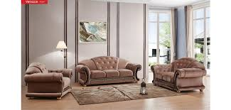 Fabric Chairs Living Room Versace Classic Living Room Set In Light Brown Fabric