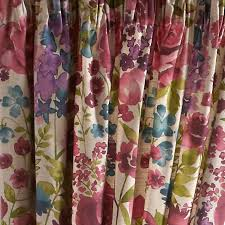 Pink Pleated Curtains Misty Meadow Lined Pencil Pleat Curtains Dunelm Campervan