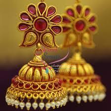 gold earrings jhumka design j1924 temple gold mango design kempu jhumka online artificial