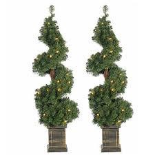 set of 2 3 1 2 pre lit potted spiral trees 8568119 hsn