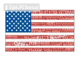 american flag art flag word art veteran art armed forces