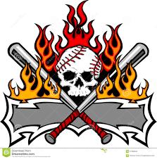 softball baseball skull and bats flaming template stock vector