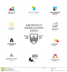 vector flat architecture company logo collection stock vector