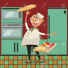 cuisine dessin animé pizza cuisine par le chef personnage de dessin animé vecteur