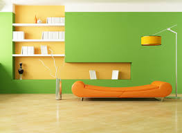 great bold color living room with good asymmetry decoration