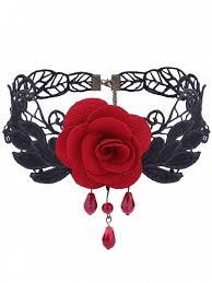 trendy flower necklace images Gothic knitted flower leaf choker necklace red necklaces zaful jpg
