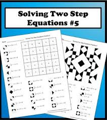 solving two step equations color worksheet practice 5 by aric thomas