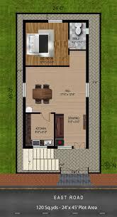 way2nirman 120 sq yds 24x45 sq ft east face house 1bhk floor plan