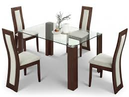 Dining Room Table Modern Dining Room Set With White Leather Chairs And Glass Table Top