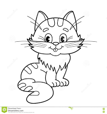 coloring outline cartoon fluffy cat coloring book