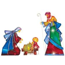 Lighted Yard Decorations Christmas Outdoor Nativity Scene Lighted Yard Decorations 3 Pc