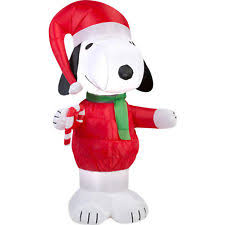 Snoopy Christmas Inflatable Decorations by Gemmy Christmas Airblown Inflatable Peanuts Snoopy With Candy Cane