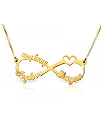 name gold necklace 14k gold 3 names and a heart infinity name necklace the name necklace