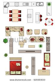 illustration interior icons top view furniture stock vector