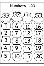 1 20 number chart for preschool activity shelter