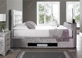 Kingsize Tv Bed Frame Design Barnard 4ft 6 Ottoman Tv Bed Silver Velvet
