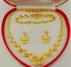 set of gold wedding jewelry sets butterflies jewelry set 18k gold plated