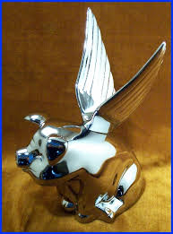 winged flying hog pig chrome metal ornament new ebay