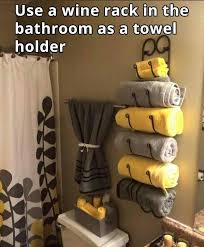 Yellow Bathroom Decorating Ideas Awesome Idea To Use A Wine Rack As A Towel Rack In The Bathroom