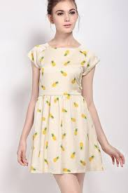 apricot pineapple print pleated short sleeve casual dress casual