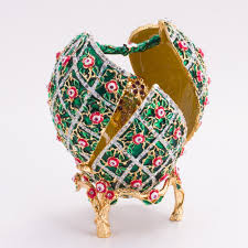 faberge egg rose trellis motifs faberge style egg jewelry box