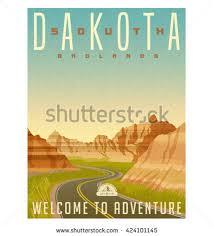 South Dakota travel symbols images Retro style travel poster sticker united stock vector 424101145 jpg
