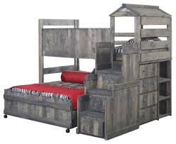bunk bed with stairway chest driftwood twin over full