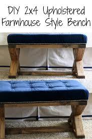diy 2x4 upholstered farmhouse style bench frazzled joy