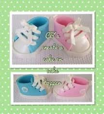 edible converse baby shoes cake topper baby shower birthday