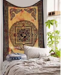 multi om aum tapestry wall hanging yoga meditation room wall