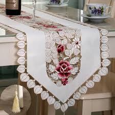 fabric for table runners wedding luxury embroidery table runner cloth pastoral floral table runner