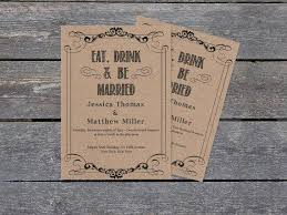 eat drink and be married invitations kraft paper wedding invitation template eat drink be married