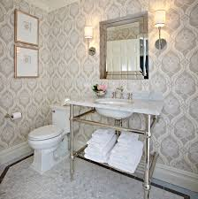 modern gray floral wallpaper transitional bathroom donna