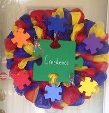 deco mesh ribbon customized autism awareness deco mesh ribbon handmade door wreath ebay